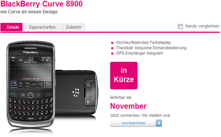 BlackBerry 8900 Curve on T-Mobile Germany