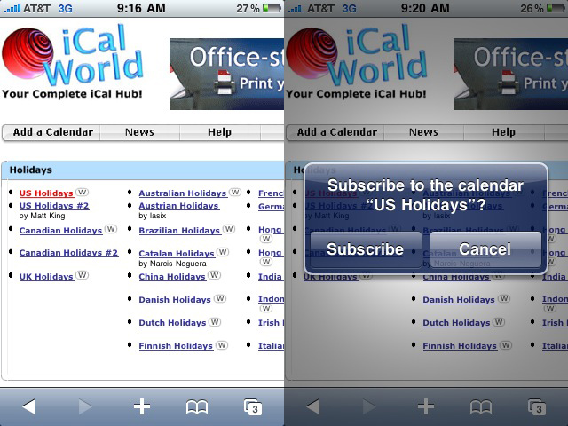 how to add a calendar subscription to iphone
