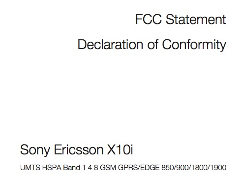 FCC XPERIA 10 Delcaration of Conformity