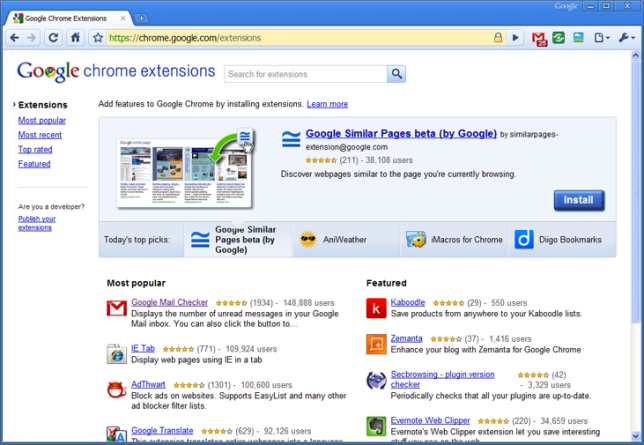 Chrome Browser Interface