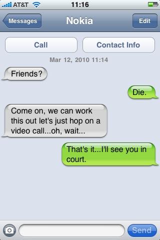Nokia Apple SMS