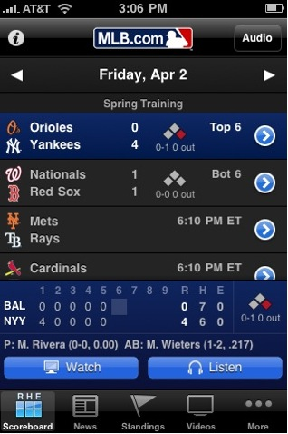 MLB At Bat 2010 iPhone