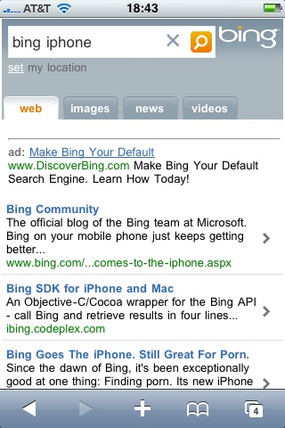 Bing Search iPhone