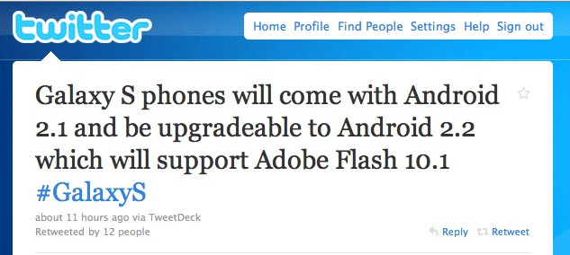 Samsung Galaxy S Tweet