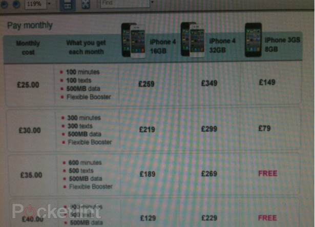 T-Mobile UK iPhone 4 Pricing