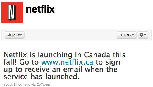 Netflix Canada Tweet