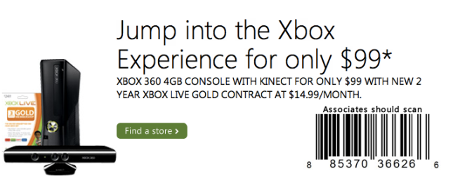 Microsoft officially offering Xbox 360 bundle for $99 and monthly subscription