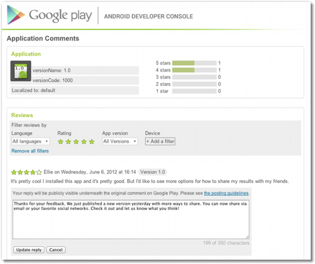 Google Play Android Developer Responses