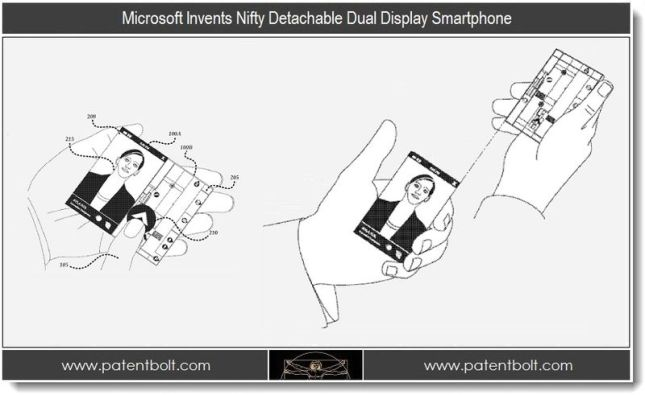Microsoft Patent Detachable Dual Display Technology