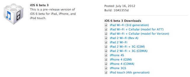 iOS 6 beta 3 download for developers, change log