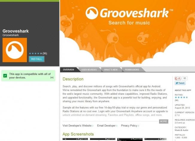 Grooveshark Returns Google Play
