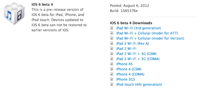 iOS 6 download -- beta 4 released