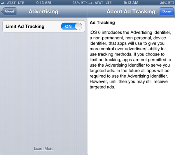 iPhone 5 Disable Ad Tracking