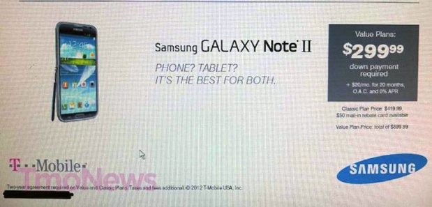 Galaxy Note II Price T-Mobile