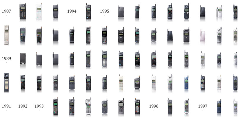 Visualizing the evolution of cell phones over the past 25