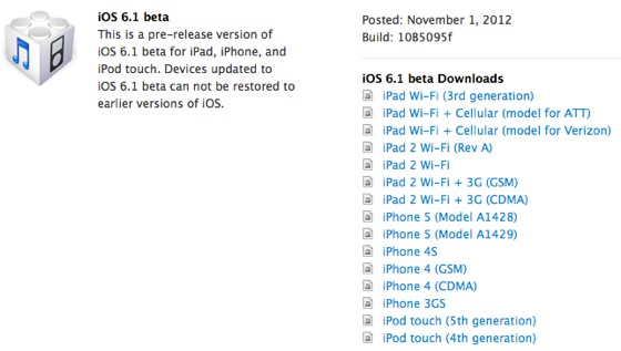 Apple iOS 6.1 Beta Release Date