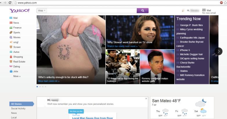 Yahoo Windows 8 Inspired