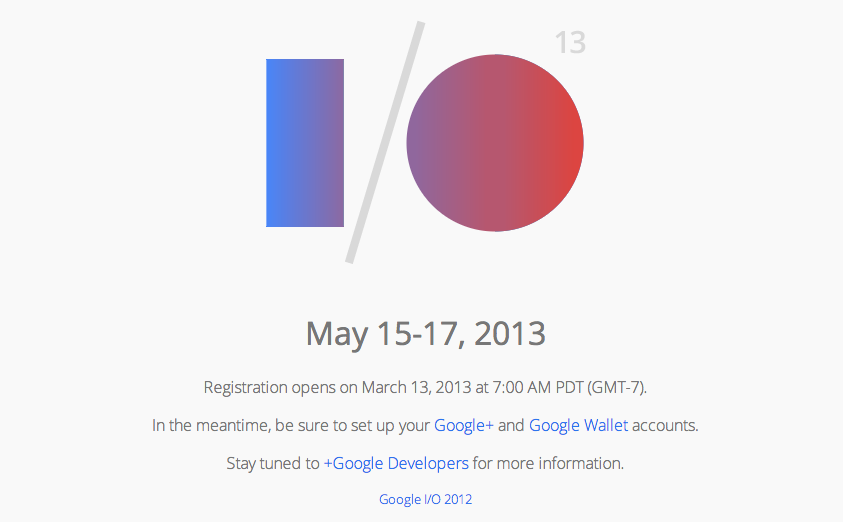 Google I/O Registration Date