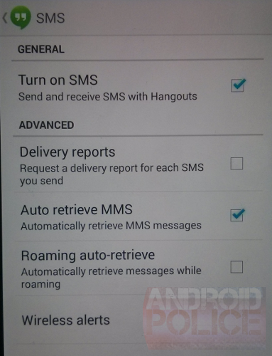 Google Hangouts SMS 1