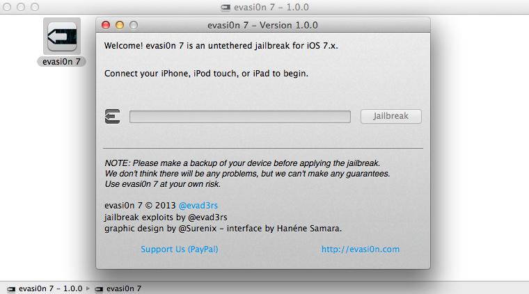 Evasi0n7 iOS 7 Untethered Jailbreak running on Mac