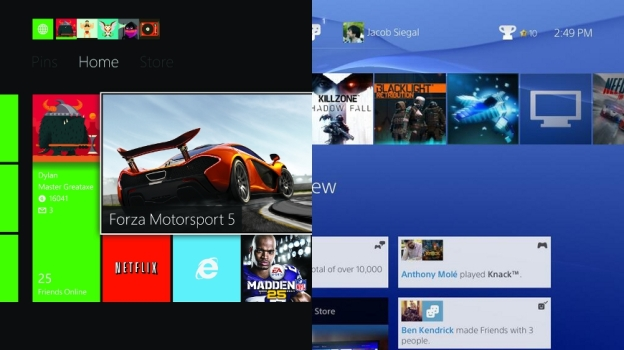 Xbox One vs PS4 Home Screen