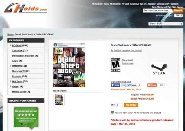 GTA V for PC listing on Gameholds.com