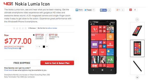 Nokia Lumia Icon Specs