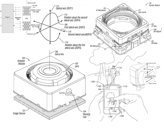 "Images from ""VCM OIS Actuator Module"" Apple patent 