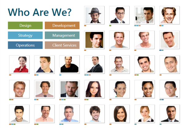"""""""Who Are We?"""" page on one of the companies' website. Jason Segel is listed top right 