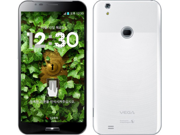 Pantech Vega Secret Note with fingerprint scanner on the back