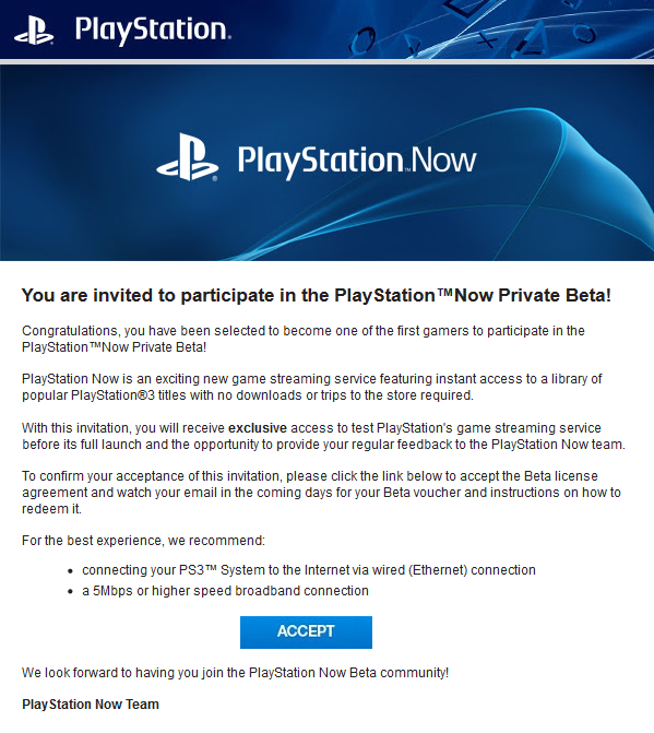 PlayStation Now private beta invite email | Image credit: Neogaf