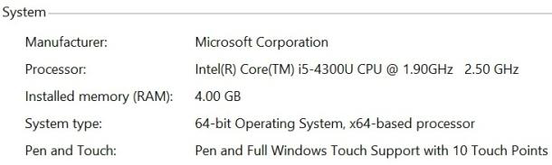 Screen capture showing the Surface Pro 2 processor upgrade | Image credit: CNET
