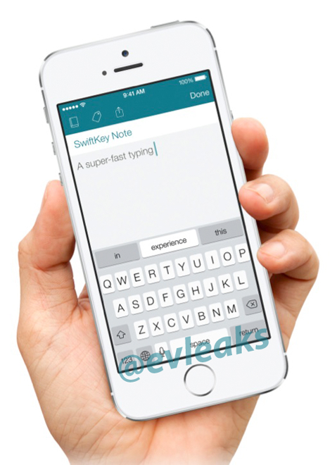 Purported SwiftKey Note iOS app on iPhone 5s | image credit: @evleaks