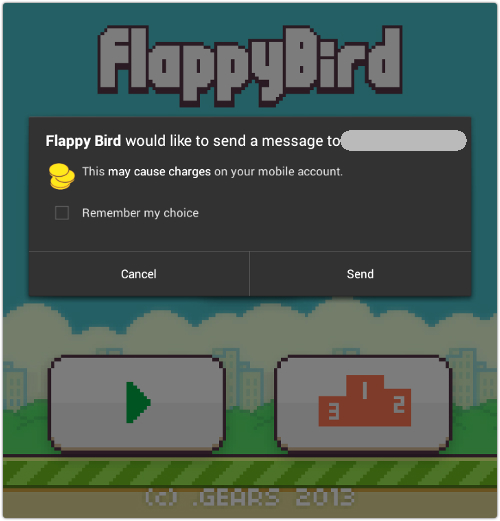 Flappy Bird malware app asks user to send a message to a premium number | Image credit: Sophos