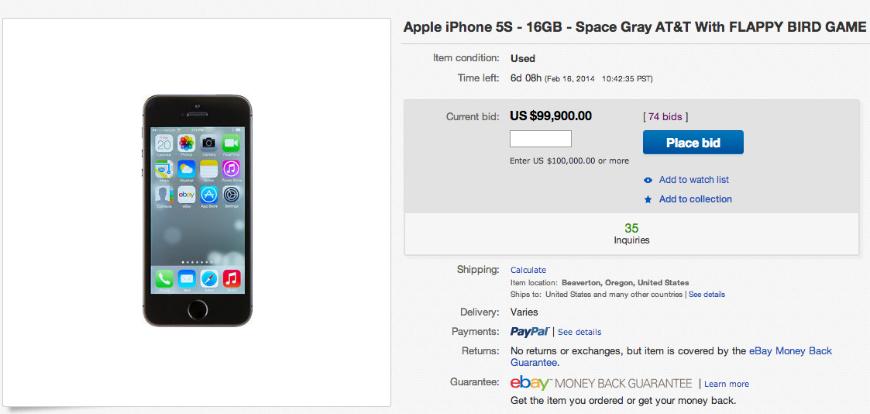 Flappy Bird iPhone on eBay