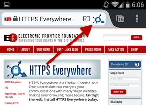 HTTPS Everywhere toggle for switching the extension on and off on Firefox Browser for Android | Image credit: EFF