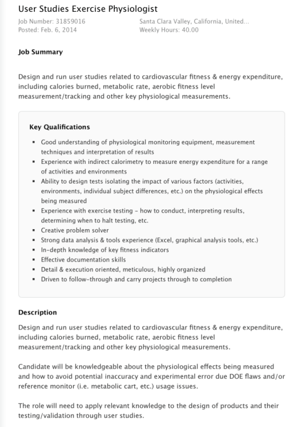 Apple iWatch job listing for physiologist