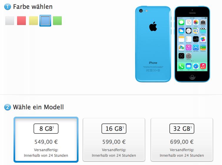 8GB iPhone 5c Launch Price