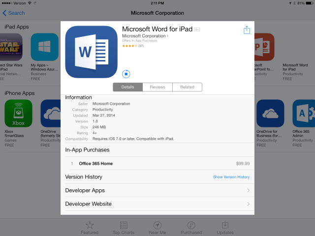 Office for iPad Update 1.1 Features