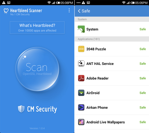 Android Virus Scan Heartbleed
