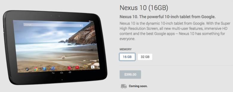 Nexus 10 Google Play Store Availability