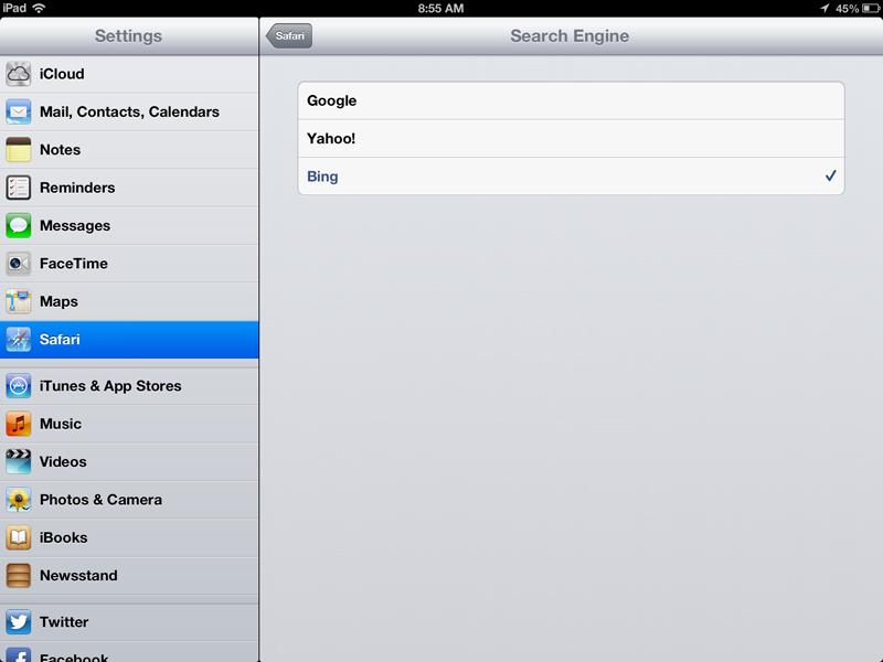 IOS Default Search Google Yahoo