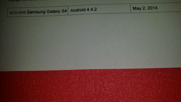 Verizon Galaxy S4 KitKat Leak