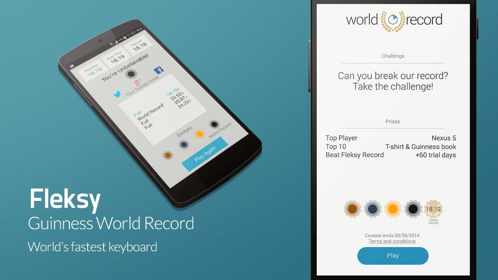 Fleksy Keyboard App Guinness Record