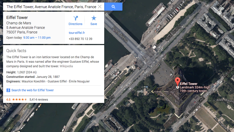 Google Maps Quick Facts Feature