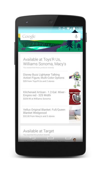 Google Now Products Search