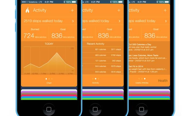 iOS 8 Healthbook on Virtual iPhone