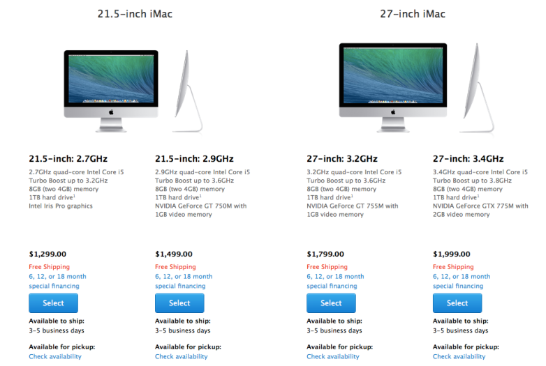Screenshot Apple store iMac