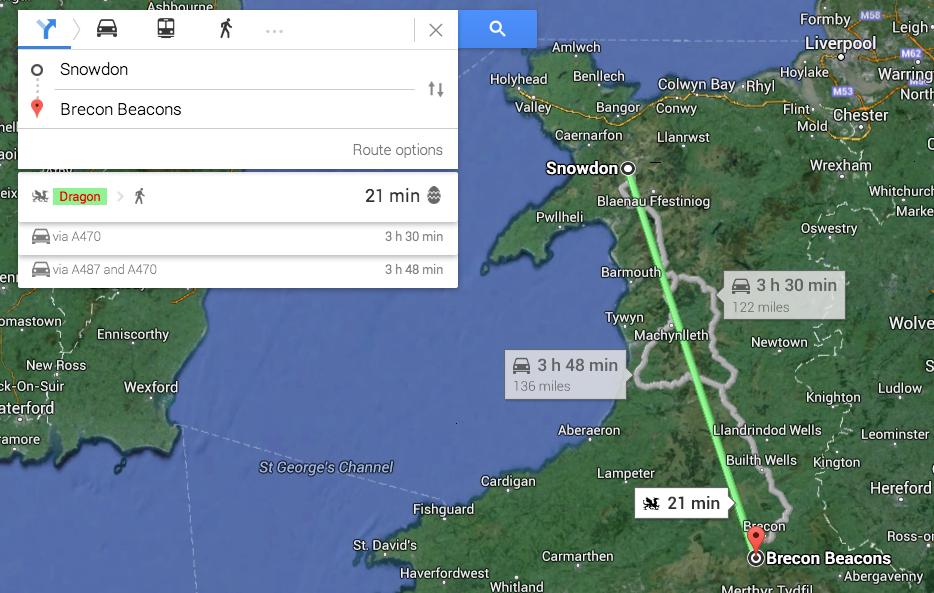 Dragon Google Maps Easter Egg