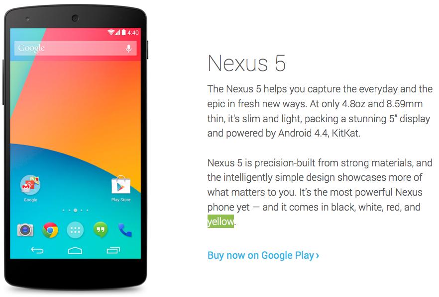 Google Nexus 5 Yellow